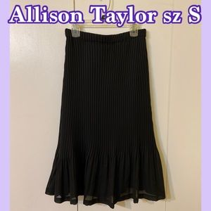 Allison Taylor Pleaded Chiffon Midi Skirt Black S